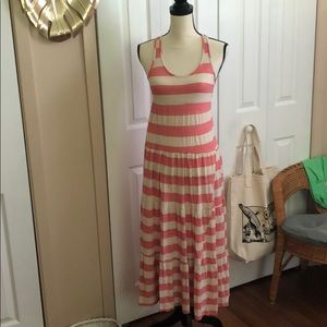 Pink and White Striped Maxi